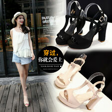 Womens Sexy Fashion Open Toe Ankle Strap Sandals Pumps Platform High Heels Shoes