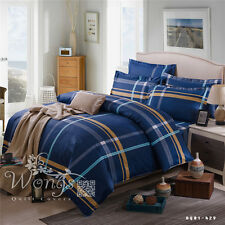 Striped Quilt Duvet Doona Cover Set 100%Cotton Double/Queen/King Bed Covers Set