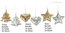 GOLD AND SILVER CHRISTMAS TREE DECORATION HANGINGS HOME DECOR ORNAMENT GIFT NEW
