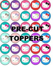 HELLO KITTY FACE PRE-CUT EDIBLE WAFER PAPER TOPPERS CUPCAKES CAKES