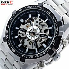 Men's Stainless Steel Analog Skeleton Automatic Mechanical Sport Wrist Watch New