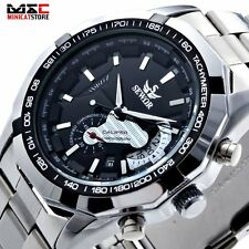 Luxury Date Day Analog Skeleton Stainless Automatic Mechanical Mens Wrist Watch