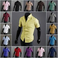 Top Fashion Men's Luxury Short Sleeve Casual Slim Fit Stylish Dress Shirt Button