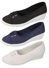 Ladies Spot On Canvas Wedge Shoes - F9721