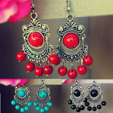 Tibetan Silver Turquoise Stone Carved Antique Style Gem beads Dangle Earrings