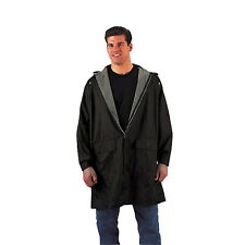 Reversible Mens Black Olive Drab Zipper PVC 3/4 Rain Coat Raincoat Parka w/ Hood