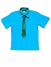Boys Party, Special Event Short Sleeve Dress Shirt, Turquoise , Size: 8 to 14