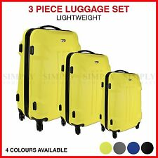 4 Wheel 3 Piece Hard Luggage Set Suitcase Travel Carry On Bag Trolley Case Blue
