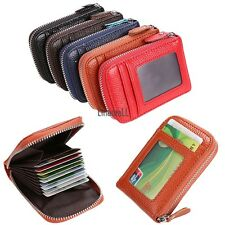 Holder PU Leather Mens Wallet ID Credit Card Purse Womens Fashion Zip Case 5LM