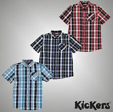 Junior Boys Branded Kickers Checked Short Sleeved Cotton Shirt Top Size Age 7-13