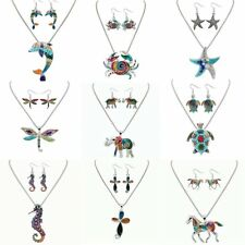 Hot Animal Oil Painting Pattern Pendant Necklace Drop Earrings Jewelry Sets Gift