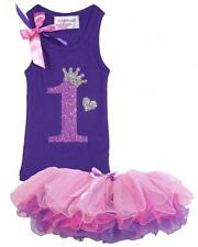 Baby Girls 1st First Birthday Shirt Name Age Purple Pink Tutu Princess Hair bow