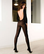 Black Opaque Long Sleeve Backless Body Stocking Sexy Lingerie P1597