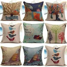 "18"" Flowers Birds Pillow Case Office Car Home Car Decor Cushion Cover Square DIY"