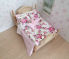 Miniature 1/12th scale dolls house BEDDING SET double bed pink roses Eiderdown
