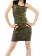 Ladies Off The Shoulder Mini Dress Cheetah Print One Size Spandex Dress Juniors