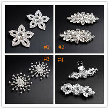 Silver Plated Vintage CZ Crystal Rhinestone Shoe Buckle Clips Costume One Pair