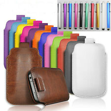 "PULL TAB PU LEATHER Pouch COVER CASE *only* fits Apple iphone 6, 4.7""  + Stylus"