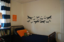 Vinyl Wall Art Sticker 'Airplanes' 3 sizes, 15 colours.