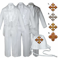 White Baby Toddler Boys Easter Christening Baptism Formal Tuxedo Suits Cross Hat