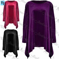 Womens Ladies Velvet Waterfall Flared Swing Hanky Hem Long Top Dress Plus Size