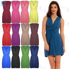 New Womens Ladies Drape Ruched Twisted Knot Front Bow Tie Belted Knot Midi Dress