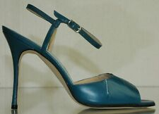 NEW MANOLO BLAHNIK Teal green Leather Ankle Strap Sandals BB Heels  SHOES 37