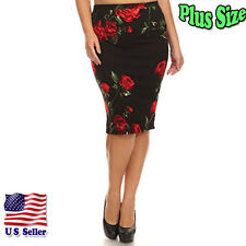 (PLUS SIZE) Rose Print Midi Length High Banded Waist Pencil Skirt S170 FLO RB_M