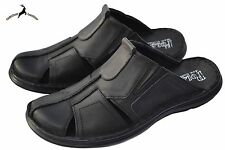 Men's Luxury Beach Sandal Genuine Buffalo Leather Black Slipper Slide Close Toe
