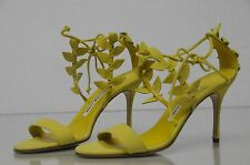 $935 New Manolo Blahnik Bolabasan Leaf Yellow Strappy Sandals Shoes 38 40 41
