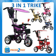 Childrens Kids Toddlers 3 In 1 Tricycle Bike Smart Trike Balance Push First Bike
