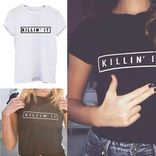 Women Oversize Letter Printed Blouse Short Sleeve T-shirt Casual Cotton Tops HOT