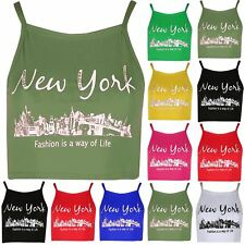 Ladies Newyork Camisole Strappy Womens Crop Top Tank Tee Shirt Plus Size