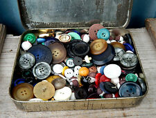Appealing Vintage 1950s Tin of Old Buttons Job Lot for Sewing or Craft 348g