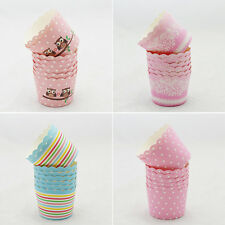 50 Pcs Utility Cake Baking Paper Cup Cupcake Muffin Cases Fit Home Party JBUS