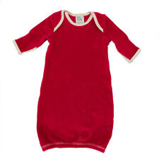 Organic Cotton Velour Baby Sleep Gown, Red - Made In USA, 0-3 Months