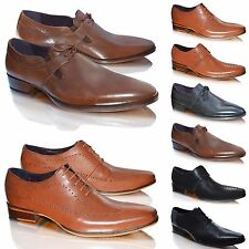 Mens GUCINARI Branded 100% Leather Lace Up Pointed Toe Wedding Formal Shoes Size