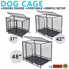"37"" 42"" 48"" DOG CAGE Puppy Pet Crate Portable HEAVY DUTY KENNEL PLAYPEN METAL"
