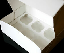 White Cupcake Box, Each Box Holds 6 Cakes, Clear Window, White Insert