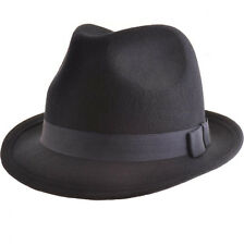 Mens Black Racing Trilby Fedora Hat Adult Ladies 100% Wool Vintage hat with Band