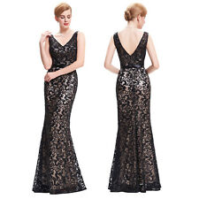 Womens Sleeveless V-Neck Sequined Bridesmaid Evening Cocktail Prom Party Dress