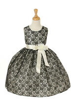 New Flower Girl Dress Lace Black Easter Christmas Pageant Wedding Occasional