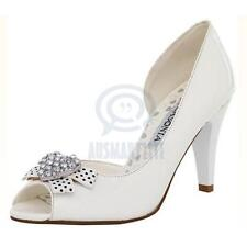 Womens Party Ribbon Bow Shoes Open Toe White Rhinestone Pump Sexy High Heels