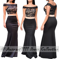 Sexy Off Shoulder Lace Slim Mermaid Maxi Formal Party Gown Evening Long Dress