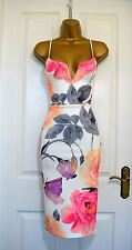 Womens Ladies Plunge V Neck Cami Strappy Rose Floral Dress Midi Bodycon Pencil