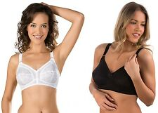 NEW Naturana Firm Control Non Wired Lace Full Cup Support Bra 5422 White & Black