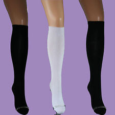 3 Pairs Girls KNEE HIGH SOCKS with LYCRA, Black White Navy UK 4-6.5, 12.5-3