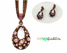 Swarovski Elements Crystal Green Pink Amber Oval Pendant Silver Necklace Gift