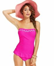 NWT Hula Honey Pink Embroidered Ruffle-Hem Swimdress One-Piece Swimsuit Sz XS, S