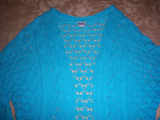Justice Brand Light Blue color CROCHET KNIT SWEATER SHRUG knitted Cardigan New